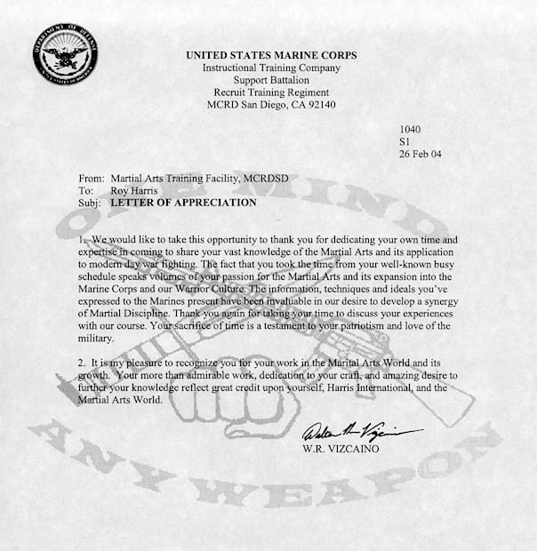 Marine Corp Letter of Appreciation